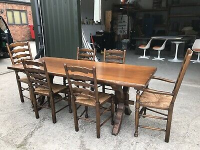 Vintage Large Oak Refectory Dining Kitchen Table And Six Ladder Back Chairs