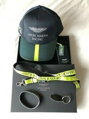 New 2018 Aston Martin Racing Team Cap Boxed Set Lanyard Carbon Keyring Wristband