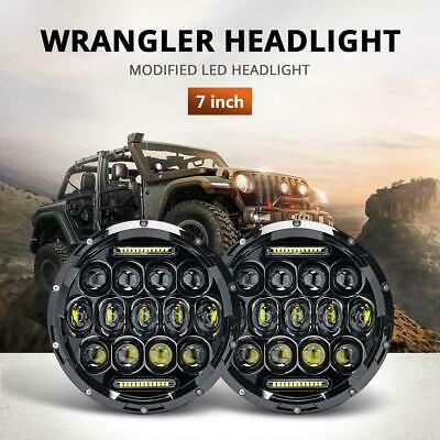 1 Pair 7 inch 200W CREE Round LED Headlights Kit High-Low beam+DRL For Jeep