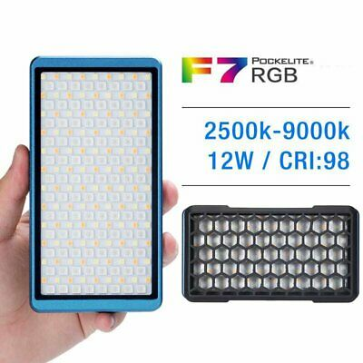 FalconEyes F7 12W RGB LED Light 2500K-9000K Camera Light Built-in Battery + Grid