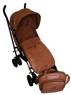 BNWT Tan leatherette buggy with bag, footmuff and raincover
