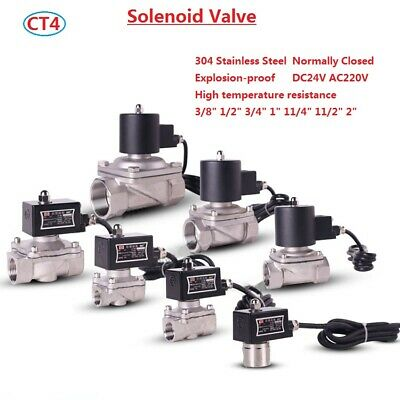 Explosion-proof CT4 Solenoid Valve Water Gas Oil Normally Closed Stainless Steel