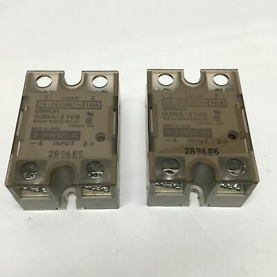 Lot of 2 Omron G3NA-D210B SSR SCR Solid State Relay 5-200VDC 10A, 5-24VDC Coil