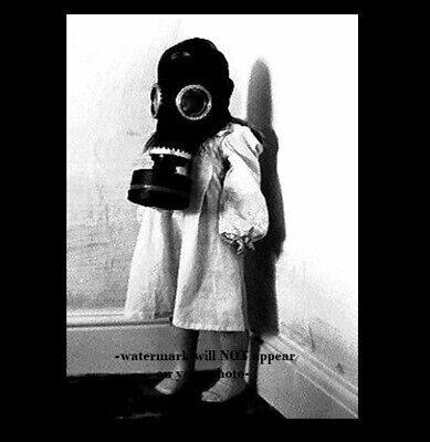 Vintage Creepy Child Gas Mask PHOTO Scary Naughty Girl Freak, WORLD WAR