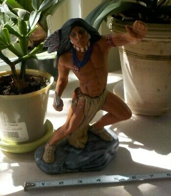 VTG Native American Indian Warrior Hunter Ceramic Figurine Hand painted Decor