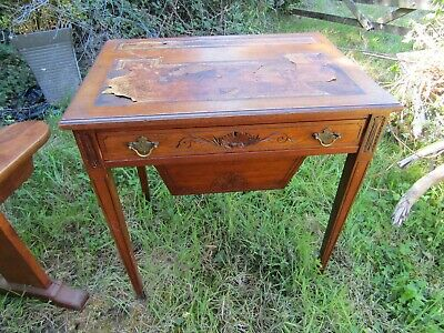 Unusual Edwardian Walnut Carved Writing Desk Sewing Table For Soe Restoration