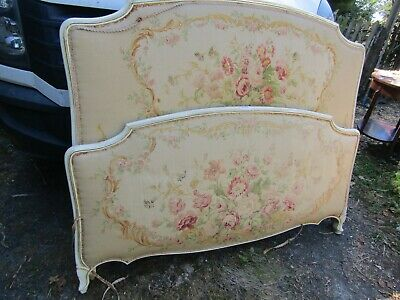 Beautiful Antique / Vintage French Original Painted Tapestry Double Bed