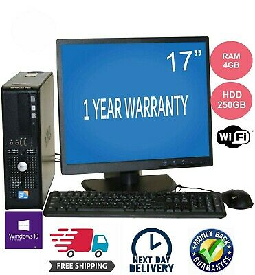 "Dell Pc Computer Desktop Dual Core 4Gb Ram 250Gb Hdd Wifi  Windows 10 17""Monitor"