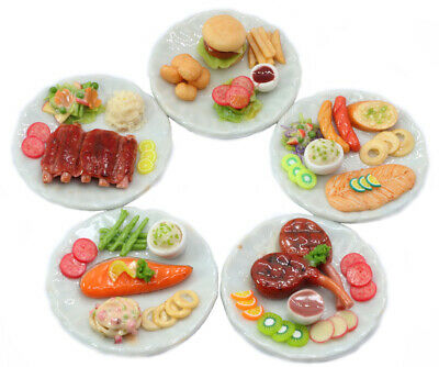 Mixed 5 Assorted Dollhouse Miniature Lamb Salmon and Burger Set,Tiny Food