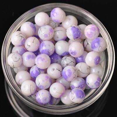 20pcs 10mm Round Spots Coated Opaque Glass Loose Beads Jewelry Lt Purple Crafts