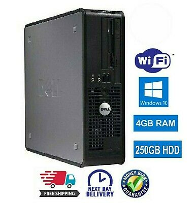Fast Dell Pc  Dual Core Computer  Desktop  Win 10 Wifi 4Gb Ram 250Gb Hdd