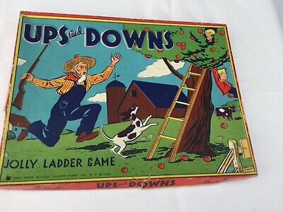 Vintage 1940  UPS and DOWNS Jolly Ladder Game by Clover Games, Inc