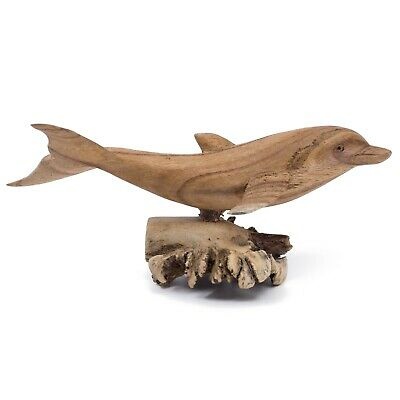 "Unique Hand Carved Dolphin On Parasite Wood Figurine Carving 8.25"" Long"