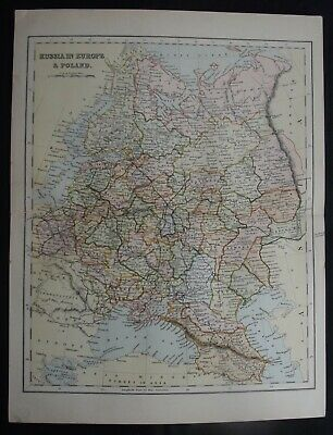 Antique Map: Russia in Europe & Poland, c 1880, Colour