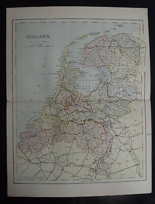 Antique Map: Holland (Netherlands), Europe, c 1880, Colour