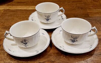 * Set of 3 * Villeroy & Boch VIEUX LUXEMBURG Blue -- Cups and Saucer Set