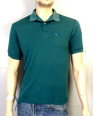 vtg 70s Garan men's Faded Green Muted Teal Polo Shirt Animal Single Stitch M/L