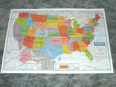 """Poster Size Wall Map United States of America USA 40"""" X 28"""" Teaching Tree NOT PC"""
