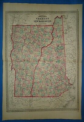 Vintage 1872 NEW HAMPSHIRE VERMONT MAP Old Antique Original Johnson Atlas Map 19