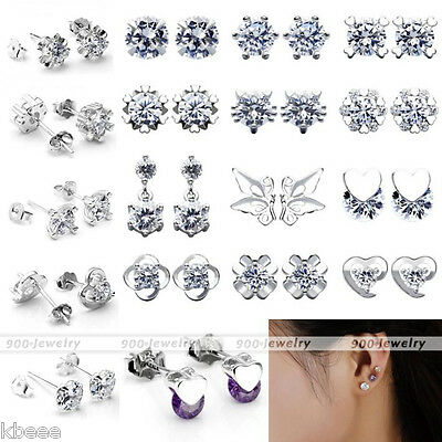 Pair Fashion Crystal Rhinestone Flower Butterfly Ear Stud Earrings Women's Gift