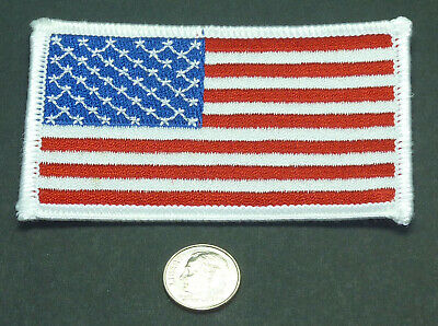 """American Flag Embroidered Patch 3.5"""" x 2.25"""" white trim **FREE SHIP**Made in USA"""
