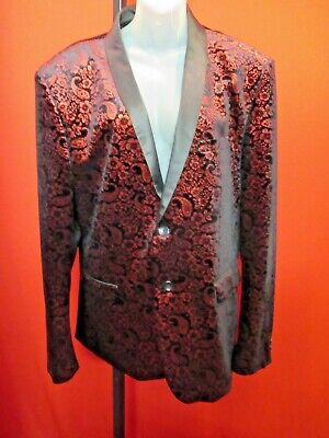 ~~GIOVANNI TESTI Fabulous Black Velvet Red Paisley Dinner Suit Jacket 46R~~