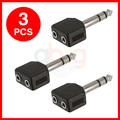 LOT of 3 6.35mm Stereo Male to 2-way 3.5mm Stereo Female Headphone Adapter