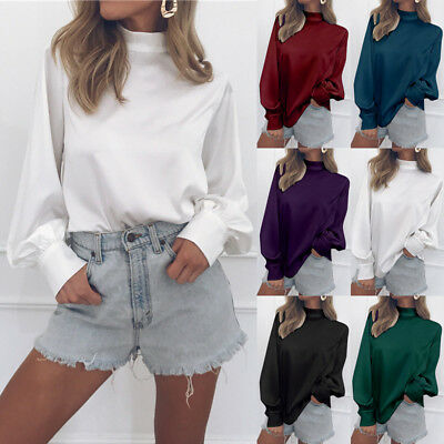 Women High Neck Shirt Tops Blouse Bishop Sleeve Solid Fall Spring Fashion S-2XL