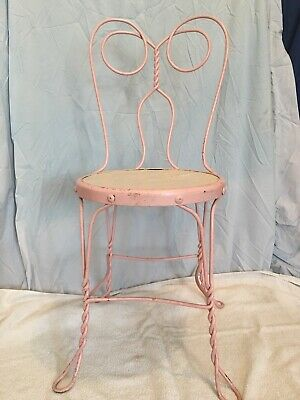 "Antique Wrought iron ice cream parlor chair 35"" high, 18"" seat height"