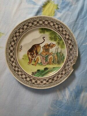 Antique Chinese porcelain plater Lohan and the tiger  , early PROCH.