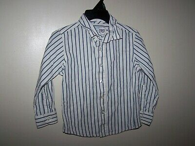TCP toddler boys size 2T shirt button up long sleeve White Blue vertical stripes