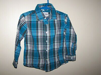 TCP toddler boys size 2T shirt button up long sleeve Teal Black white plaid 2 t
