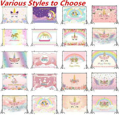 Lots Of 3x5ft Unicorn Flower Photo Birthday Background Backdrops Studio Prop Hot