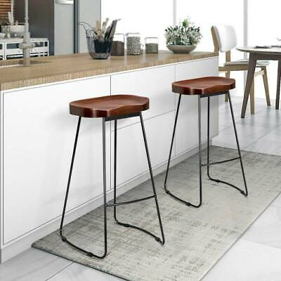 2pcs Industrial Bar Stool Vintage Cafe Room Counter Kitchen Backless High Chair