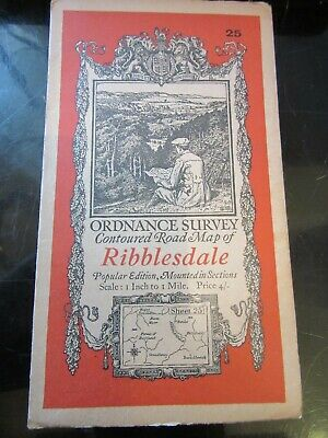 1925 Old Vintage OS Ordnance Survey One-Inch Popular Edition Map 25 Ribblesdale