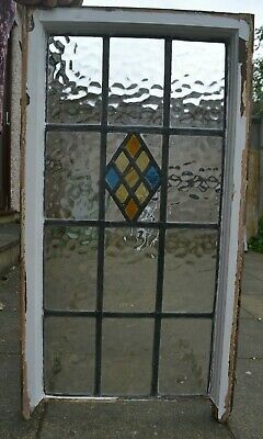 SMALL FLEMISH PIECES 120 x 183mm. Leaded light stained glass window sash. R954d