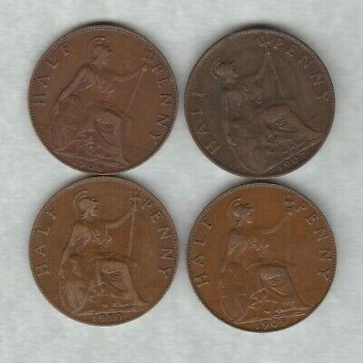 Four 1907/1908/1909 & 1910 Edward Vii Halfpennies In Very Fine Condition