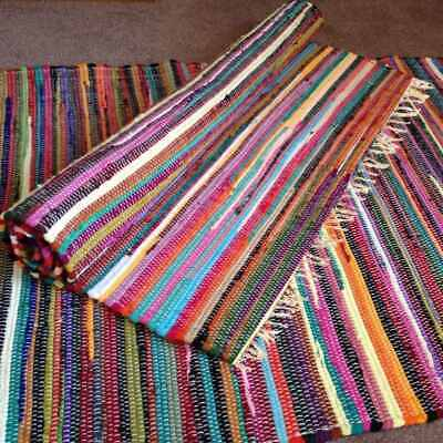 Handmade Chindi Fair Trade Multi Colour Fringed 100% Shabby Chic Recycled Cotton