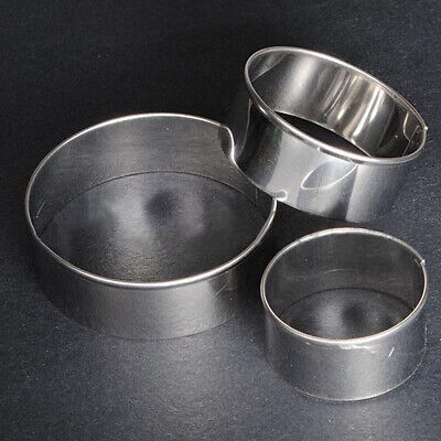 3 Pcs Stainless Steel Round Cookie Biscuit Pastry Cutter Baking Cake Decor Mold