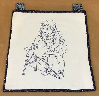 Vintage Quilt Wall Hanging, Embroidered Girl Ironing, Navy, Off White, Hand Made