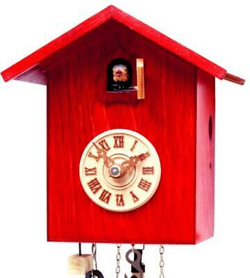 Modern cuckoo clock: Bird house with mechanical 1-day-movement, SK12-3 red