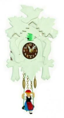 Small cuckoo clock with swinging doll and quartz movement, 2002 SQ white