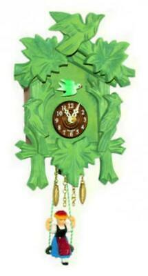 Small cuckoo clock with swinging doll and quartz movement, 2002 SQ green