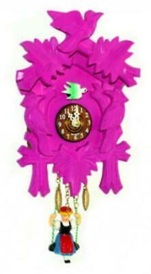 Small cuckoo clock with swinging doll and quartz movement, 2002 SQ pink