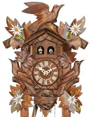 Edelwhite: hand-painted Hand-carved cuckoo clock with mechanical 1-day-movement