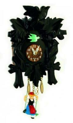 Small cuckoo clock with swinging doll and quartz movement, 2002 SQ black