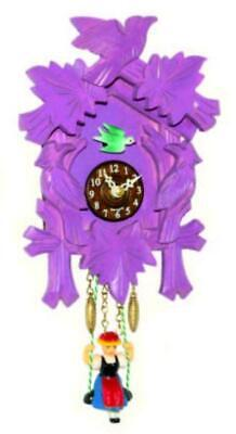 Small cuckoo clock with swinging doll and quartz movement, 2002 SQ purple