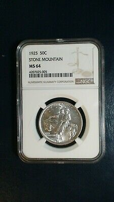 1925 STONE MTN Commemorative Half NGC MS64 NEAR GEM Silver 50C Coin BUY IT!