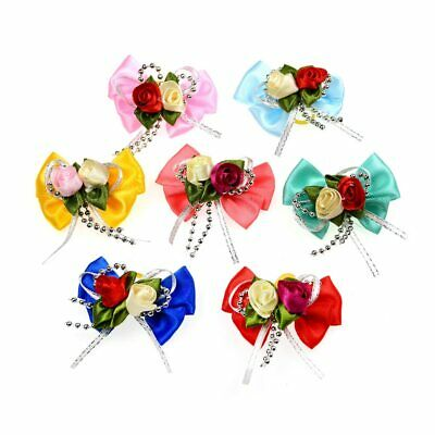 100Pcs Large Dog Topknot Bow Pet Hair Rubber Bands Patterns Hair Accessories