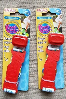 2x Nuby Keepeez Cup and Toy Strap - Red *NEW* Adjustable, Holder, Catcher